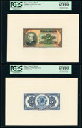 Brazil Banco do Brasil 5 Mil Reis 8.1.1923 Pick 113p Face and Back Proofs PCGS Superb Gem New 67PPQ (2). ... (Total: 2 n...
