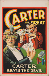 """Carter the Great (1927) Very Fine. Window Card (14"""" X 22"""") """"Carter Beats the Devil."""" Miscellaneous..."""