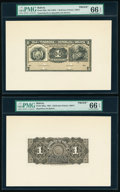 Bolivia Tesoreria de la Republica 1 Boliviano ND (1902) Pick 92p Front and Back Proofs PMG Gem Uncirculated 66 EPQ (2)...