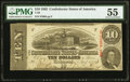 Confederate Notes:1863 Issues, T59 $10 1863 PF-33 Cr. 435 PMG About Uncirculated 55.. ...