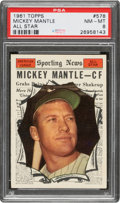 Baseball Cards:Singles (1960-1969), 1961 Topps Mickey Mantle All-Star #578 PSA NM-MT 8....