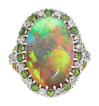 Opal, Diamond, Demantoid Garnet, Platinum-Topped Gold Ring, Tiffany & Co