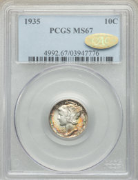 1935 10C MS67 PCGS. Gold CAC. PCGS Population: (81/0). NGC Census: (118/0). CDN: $85 Whsle. Bid for NGC/PCGS MS67. Minta...