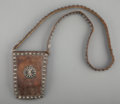 American Indian Art:Jewelry and Silverwork, A Navajo Man's Leather Pouch...