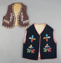 American Indian Art:Beadwork and Quillwork, Two Prairie Beaded Cloth Vests...