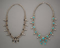 American Indian Art:Jewelry and Silverwork, Two Navajo Squash Blossom Necklaces... (Total: 2 )