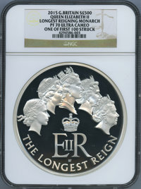 """Great Britain: Elizabeth II silver Proof """"Longest Reigning Monarch"""" 500 Pounds (Kilo) 2015 PR70 Ultra Cameo NG..."""