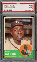 Baseball Cards:Singles (1960-1969), 1963 Topps Hank Aaron #390 PSA Mint 9 - Only One Higher....