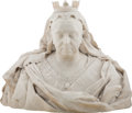 Sculpture, Edward Onslow Ford (British, 1852-1901). Portrait Bust of Queen Victoria, 1898. Marble. 23-1/2 x 27-1/2 x 17 inches (59....