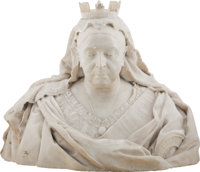 Edward Onslow Ford (British, 1852-1901) Portrait Bust of Queen Victoria, 1898 Marble 23-1/2 x 27-