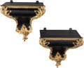 Furniture, A Pair of French Gilt Bronze Mounted Ebonized Wood Brackets, late 19th century . 13-3/4 x 13-1/8 x 13 inches (34.9 x 33.3 x ... (Total: 2 Items)