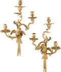 Furniture, A Pair of French Louis XV-Style Gilt Bronze Figural Three-Light Sconces, 19th century . 22 x 14 x 7-1/4 inches (55.9 x 35.6 ... (Total: 2 Items)