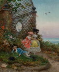 Paintings, Lucius Rossi (Italian, 1846-1913). Surprised, circa 1870. Oil on chamfered wood panel. 17-3/4 x 14-1/4 inches (45.1 x 36...
