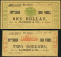 Obsoletes By State:Louisiana, New Orleans, LA- Patterson Iron Works $1; $2 Mar. 20, 1862 Fine or Better.. ... (Total: 2 notes)