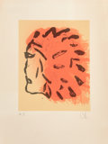 Prints & Multiples, Claes Oldenburg (b. 1929). Indian Head, from Peace Portfolio, 1972. Silkscreen in colors on Arches paper. 28-7/8 x 2...