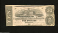 Confederate Notes:1862 Issues, T52 $10 1862. The back reveals a repaired tear on this