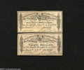 Confederate Notes:Group Lots, Two Confederate Bond Coupons. The $15 coupon comes from a $... (2notes)