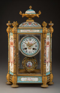 A Maple & Co. Ltd. Bronze, Champlevé, and Porcelain Mantel Clock, Paris, circa 1910 Marks: MAPLE & CO. LT...