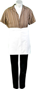 Memorabilia:Movie TV Props, Goat's Brown Wide Stripe Shirt and Apron Outfit. ...