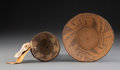American Indian Art:Baskets, Two Miniature Pima Coiled Trays ... (Total: 2 )
