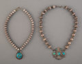 American Indian Art:Jewelry and Silverwork, Two Navajo Necklaces... (Total: 2 )