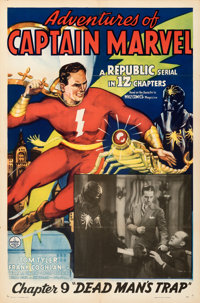 "Adventures of Captain Marvel (Republic, 1941). Folded, Very Fine+. One Sheet (27"" X 41"") Chapter 9 -- ""De..."
