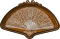 Decorative Accessories, A French Mother of Pearl and Lace Fan in a Shadow Box. 17-3/4 x 26-1/2 x 2-1/2 inches (45.1 x 67.3 x 6.4 cm) (box). ...
