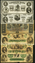 Obsoletes By State:Louisiana, New Orleans, LA- Citizens' Bank of Louisiana $1; $2; $5; $100 18__ Remainders Choice About Uncirculated or Better;. Sh... (Total: 6 notes)