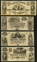 Obsoletes By State:Louisiana, New Orleans, LA- New Orleans Canal and Banking Company $5; $10; $50; $100 18__ Remainders Crisp Uncirculated or Better.... (Total: 4 notes)