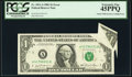 Error Notes:Gutter Folds, Gutter Fold and Cutting Error Fr. 1911-A $1 1981 Federal Reserve Note. PCGS Extremely Fine 45PPQ.. ...