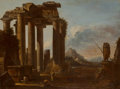 Paintings, Giovanni Ghisolfi (Italian, 1613-1683). A ruined classical temple of the Tuscan order with figures; Two classical temples ... (Total: 2 Items)