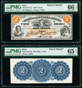 World Currency, Peru Banco De Londres Mexico 2 Soles 1866 Pick S271p1; S271p2 Front and Back Proofs PMG Gem Uncirculated 65 EPQ; Gem Uncir... (Total: 2 notes)