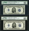 Fr. 1654 $5 1934D Narrow Silver Certificate. V-A Block. PMG Gem Uncirculated 65 EPQ; Fr. 1654* $5 1934D Wide I