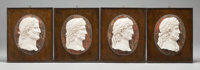 Four Italian Carved Marble Framed Portrait Plaques of Emperors in Profile, late 19th century 16-3/4 x 13 inches (42.5 x...