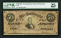 """Confederate Notes:1864 Issues, Annotation on Back """"Brig Gen A.D. Byres Camp of Instruction S.E."""" T66 $50 1864 PF-2 Cr. 496 PMG Very Fine 25.. ..."""
