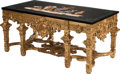 Furniture, A Regence-Style Gilt and Carved Hardwood Table with Specimen Marble Top. 32-1/2 x 74 x 38 inches (82.6 x 188.0 x 96.5 cm). ...