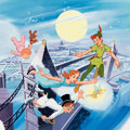 """Animation Art:Production Drawing, Peter Pan """"Off to Neverland"""" Collector's Plate Painted Illustration (Walt Disney/Bradford Exchange, 1993)...."""