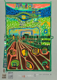 Friedensreich Hundertwasser (1928-2000) Street for Survivors, from Look At It on a Rainy Day