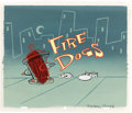 """Animation Art:Production Cel, Ren and Stimpy """"Fire Dogs"""" Title Cel with Key Master Background plus Credit Cels and Drawings Group (Spumco, 1991).... (Total: 8 Items)"""