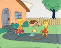 Animation Art:Production Cel, The Simpsons (The Tracey Ullman Show) Bart, Lisa, and Maggie Production Cel and Key Master Background Setu...