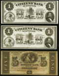 Obsoletes By State:Louisiana, New Orleans, LA- Citizens' Bank of Louisiana 18__ Remainders Three Examples.. $1 (2) AU or Better;. $5 Choice CU.. ... (Total: 3 notes)