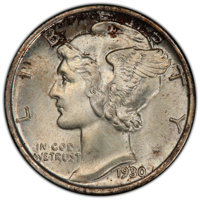 1930-S 10C MS66+ Full Bands PCGS. CAC. PCGS Population: (93/17 and 14/8+). NGC Census: (15/2 and 1/0+). CDN: $1,650 Whsl...