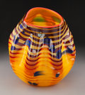 Glass, Dale Chihuly Cinnamon Macchia Glass Basket with Red Lip Wrap Manufactured by Portland Press, circa 2001. Marks: ...