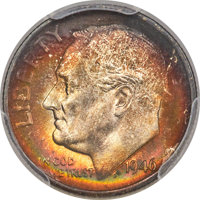 1946-S/S 10C Doubled Die Reverse, Repunched Mintmark, FS-501, MS68 Full Bands PCGS....(PCGS# 147849)