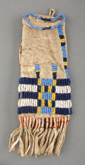 American Indian Art:Beadwork and Quillwork, A Miniature Sioux Beaded Hide Tobacco Bag...