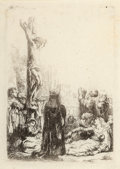 Prints & Multiples, Rembrandt van Rijn (Dutch, 1606-1669). The Crucifixion: small plate, c. 1635. Etching on laid paper, w...