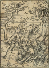 Albrecht Dürer (German, 1471-1528) Hercules conquering the Molionide Twins, circa 1496 Woodcut on la