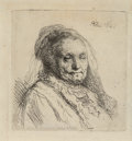 Prints & Multiples, Rembrandt van Rijn (Dutch, 1606-1669). The artist's mother, head and bust: three quarters right, 1628. Etching on laid p...