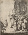 Prints & Multiples, Rembrandt van Rijn (Dutch, 1606-1669). The Presentation in the temple with the angel: small plate, 1630. Etching with dr...