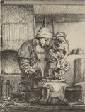 Prints & Multiples, Rembrandt van Rijn (Dutch, 1606-1669). The goldsmith, 1655. Etching and drypoint on laid paper, without watermark. 3-1/4...